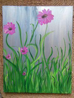 Pink Neon Daisy Original Painting