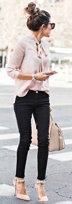 Summer Office Outfit | winter wardrobe blush pink christine andrew gorgeous silky blouse matching heels bag top shopbop jeans nordstrom heels aminah