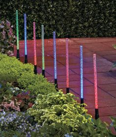 Brighten up a walkway or fence, or trim a flowerbed with the uncommon beauty of the 8-Pc. Solar Tube Light Set. Each light has its own stake that installs in the ground. After storing the sun's energy during the day, the lights come alive at dusk.