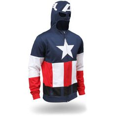 HOODIE  This Captain America hoodie caught my attention. This would be a pretty bold fashion design statement walking down the street. via ThinkGeek