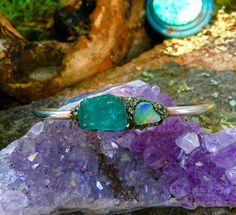 .925 Sterling Silver Cuff  With Raw Ethiopian Opal and Neon Blue Apatite from…