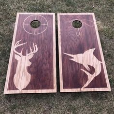 Dual Stain Custom Cornhole Boards – Hunting and Fishing Themed Boards - Modern Woodworking Projects Diy, Wood Projects, Outdoor Projects, Woodworking Plans, Cornhole Boards For Sale, Cornhole Designs, Hunting Crafts, Backyard Games, Outdoor Games