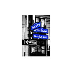 NYC Street Signs in Manhattan by Night - 34th Street, Seventh Avenue... (£35) ❤ liked on Polyvore featuring home, home decor, wall art, artists, new york city wall art, nyc wall art, photography wall art, nyc home decor and wall street art