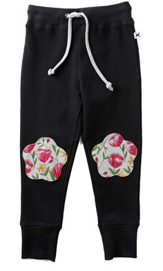 iloveminti Flower Prints, Kids Fashion, Sweatpants, Winter, Shapes, Collection, Black, Child Fashion, Floral Patterns