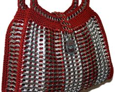 Items similar to Cindy - Shoulder Crochet Purse Made from Pop Tabs - Red and Gray, Bama Bag, Crimson Tide, Women, Teens, Vegan on Etsy