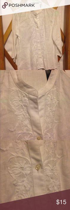 Liz Claiborne white blouse Three quarter length sleeve embroidered blouse by Liz Claiborne Liz Claiborne Tops Blouses