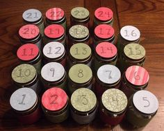 Baby Food Jar Advent Calendar by Tsoniki, via Flickr?..I don't have time o start this today