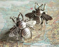 Victorian Vintage Style Silver Honey Bees