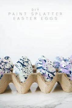 DIY Paint Splatter Easter Eggs - brepurposed