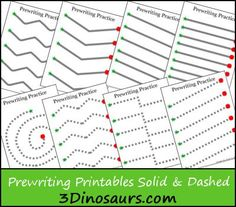 Prewriting Practice Solid & Dashed Printables - 3Dinosaurs.com