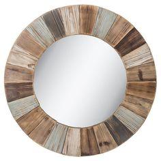 Round Wood Wall Mirror Large Rustic Whitewashed Decorative Hanging Vanity Decor #NeedfulThings #Rustic