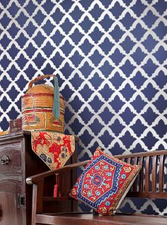 Moroccan and Indian Stencils: intricate and trendy wall stencil patterns for DIY decor! These beautiful moroccan stencil patterns are just what you need to spice up your home decor. Wall Stencil Patterns, Damask Stencil, Stencil Designs, Tile Stencils, Large Stencils, Stencil Walls, Wallpaper Stencil, Moroccan Stencil, Moroccan Design