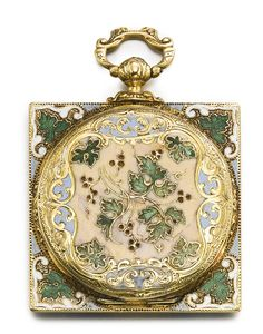 Yellow Gold And Enamel Open-Faced Square Watch, Case Back With Translucent Pink Enamel Over An Engine-Turned Ground, Leaf And Berries Motif, Square Border To The Case With Green Leaves And Blue And White Enamel   c. 1850   -   Sotheby's