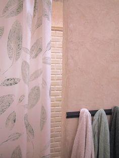 Revamp a plain shower curtain with a fun leaf print.