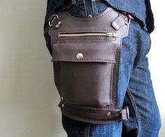 Brown Road Warrior Bag. Travel Bag Mens or Womens leather hip bag.
