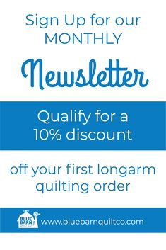 As a new subscriber, you're qualified for a 10% discount off of your first longarm quilting order with Blue Barn Quilt Co. Go to: www.bluebarnquiltco.com to sign up. #newsletter #quiltingismytherapy #modernquilts #sewinglove #designer #modernmaker #quilters #fabricstash #quiltfabric #fabriclove #sewingproject #quilted #modernquilter #quiltlove #quilted #longarmquilting #colorful #forsale #makersgonnamake #crafts Longarm Quilting, Machine Quilting, Quilting Projects, Sewing Projects, Liberty Of London Fabric, Blue Quilts, Quilt Top, Quilt Making, Quilt Patterns
