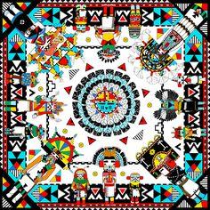 'Kachinas' scarf design by Elmira Amirova