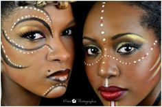 Tribal makeup dark skin makeup african makeup, makeup и afri Contour Makeup, Makeup Art, Eye Makeup, Makeup Ideas, Pintura Tribal, African Tribal Makeup, African Face Paint, Tribal Face Paints, Tribal Paint