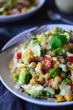 This vegan chickpea avocado salad is easy and great for a weekday lunch, side dish or to take to a potluck, picnic or BBQ. Served with a creamy dressing.
