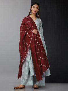 Greyish Blue Cotton Angrakha Suit with Maroon Chanderi Gota Dupatta - Set of 3 Pakistani Fashion Casual, Pakistani Dress Design, Pakistani Dresses, Indian Dresses, Indian Outfits, Indian Fashion, Indian Attire, Indian Ethnic Wear, Anarkali