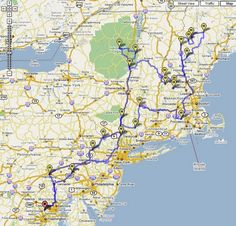 New England road trip map/suggested routes.