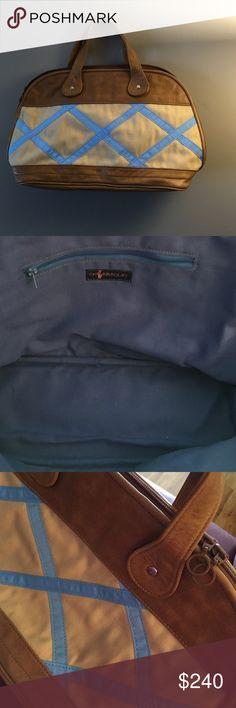 Vintage CK Bradley Bag Original preppy bag. Vintage, Soft leather and cream and blue pattern. Ck Bradley Bags