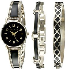 Anne Klein Women's Swarovski Crystal Accented Gold-Tone and Black Bangle Watch with Bracelet Set - Clique Watches Jewelry Clasps, Jewelry Watches, Women's Watches, Analog Watches, Black Watches, Trendy Watches, Jewlery, Bracelet Set, Bangle Bracelets