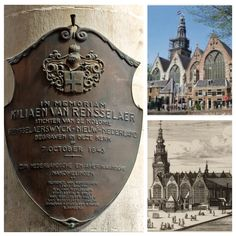 Killiaen Van Rensselaer 1586-1643 first patroon of Rensselaerwyck in New Amsterdam #NewYork burial and plaque at St. Nicholas, Oude Kerk built circa 1306 in Amsterdam