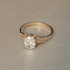 Vintage 10K GOLD Bridal Engagement RING Victorian Wedding Design Brilliant CZ Cubic Zirconia Hallmarks Size 7.5 #10KJewelry #Wedding