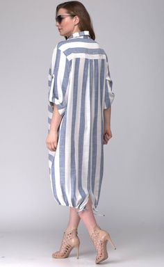 Платье SOVA арт. 11044 полоска голубая Office Outfits Women Casual, Casual Hijab Outfit, Casual Dresses For Women, Classy Outfits, Denim Fashion, Skirt Fashion, Women's Fashion, Fashion Trends, Celebrity Fashion Outfits