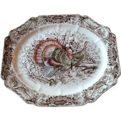 Vintage Johnson Brothers 17 Inch Standing Turkey Platter -- found at www.rubylane.com #vintagebeginshere #thanksgiving