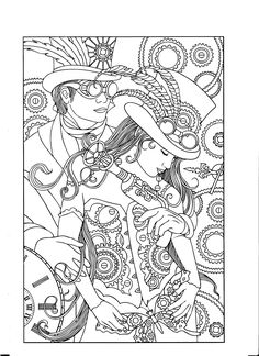 Steampunk Adult Coloring Page Fairy Coloring Pages, Adult Coloring Pages, Coloring Sheets, Coloring Books, Mandala Art, Steampunk Illustration, Hand Art, Anime Art Girl, Fabric Painting