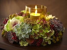 Hydrangea, Succulents, berries and pod candle wreath centerpiece ♥