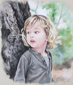 Custom Pastel Portrait Painting of Child from by BograArt on Etsy