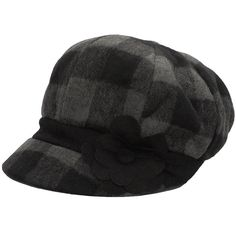 Jeanne Simmons Accessories Gray & Black Plaid Flower Wool-Blend... ($9.99) ❤ liked on Polyvore featuring accessories, hats, plaid hat, plaid newsboy hat, grey hat, gray hat and newsboy caps