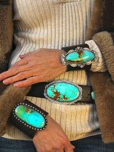 Turquoise Cuff bracelets on Leather and Turquoise buckle (by Brit West), beautiful country style jewelry.