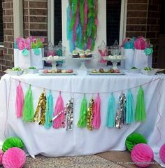 Awesome pink, green and aqua dessert table!  See more party ideas at CatchMyParty.com!