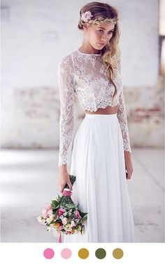 We've seen a lot of these bridal two pieces in the ether.  We really, really, love this gorgeous number via the Chicest Chicks - and it makes a pretty lovely scheme and a dream.