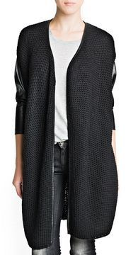 Faux leather detail cardigan on shopstyle.com