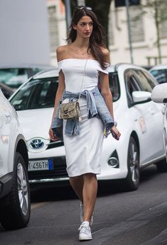 Street Style Vestido Off White Off The Shoulder