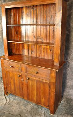 Rustic Reclaimed Wood Stepback Hutch with 2 Drawers and 2 DoorsCustom sizes available Wooden Pallet Furniture, Solid Wood Furniture, Wooden Pallets, Rustic Furniture, Wooden Projects, Wooden Crafts, Rustic Western Decor, Rustic Wood, Antique Hutch