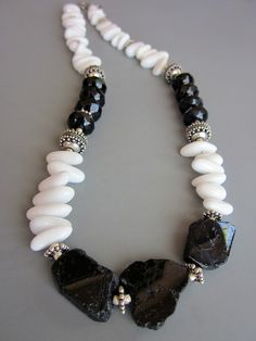Bali Silver Black and White onyx necklace, $92 | Hog Wild Jewelry on Art Fire