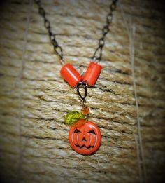 01 Halloween Jack-O-Lantern Necklace by FarmHouseFashion on Etsy