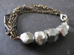 Pyrite and Mixed Metal Chain Bracelet - Moonshine and Quicksilver. savagesalvage on Etsy