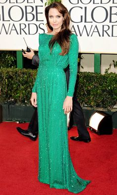Emerald: How Celebs Are Wearing 2013's Hot New Color: Angelina Jolie