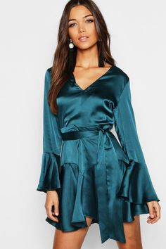 64109231751 Satin Beach Playsuit with Plunge Neck and Long Sleeves