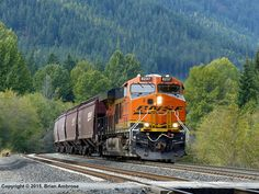 BNSF #8237 (GE ES44C4) leads the XKAL coming off Stampede Pass and into Cabin Creek on October 04, 2015.  Photo by Brian Ambrose.