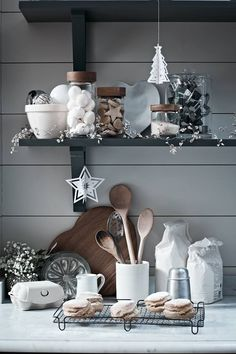 The White Company. Christmas lights/garlands in kitchen