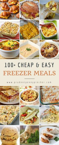 There are over 100 cheap and easy freezer meals here for breakfast, lunch and dinner. You will find easy recipes for sandwiches, soups, casseroles & more. 100 Cheap & Easy Freezer Meals - 100 Cheap and Easy Freezer Meals Freezer Friendly Meals, Budget Freezer Meals, Healthy Freezer Meals, Dump Meals, Cooking On A Budget, Healthy Recipes, Frugal Meals, Cheap Recipes, Freezer Cooking