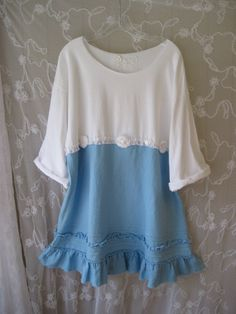 Bohemian white cotton and sky blue linen top with 3 buttons and pretty appliques Great for walks on the beach, or jeans and boots  Bust 48 to 50